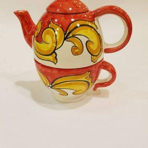 Teiera con tazzone barocco rosso