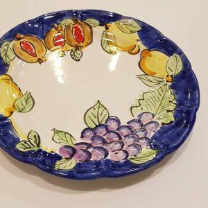 """Piatto piano """"uva limoni e melograno"""" 002"""
