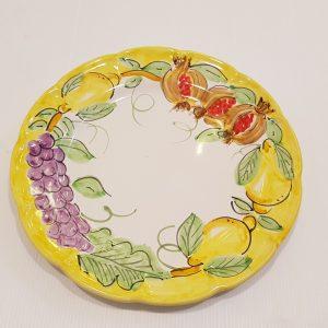 """Piatto piano """"uva,limoni e melograno"""" 005"""