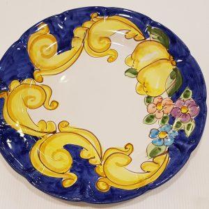 """Piatto piano """"barocco,limoni e fiori"""" 002"""